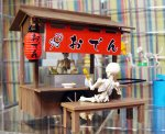 Re-ment Miniature Pose Skeleton Oden Stall Set
